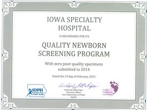 Certificate from IDPH