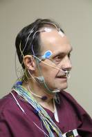 patient has sensors on his face