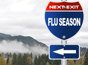 Road sign that says Flu Season Next Exit